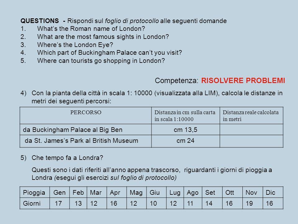 QUESTIONS - Rispondi sul foglio di protocollo alle seguenti domande 1. Whats the Roman name of London? 2. What are the most famous sights in London? 3