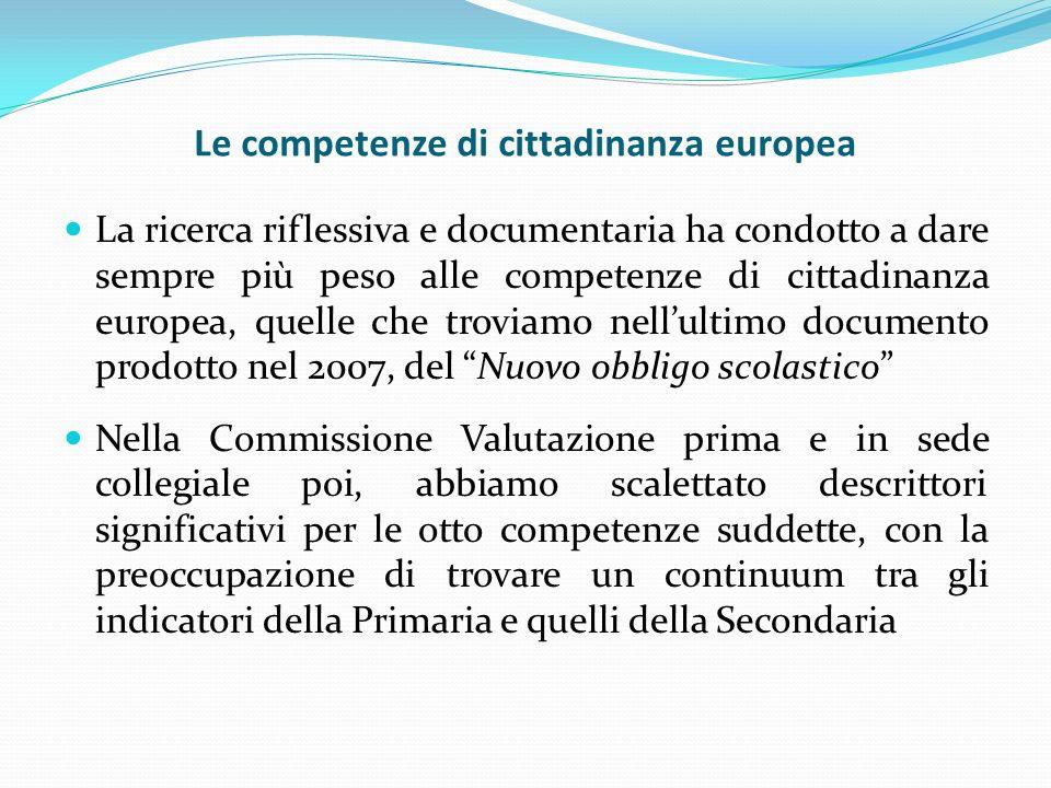 Le competenze di cittadinanza europea La ricerca riflessiva e documentaria ha condotto a dare sempre più peso alle competenze di cittadinanza europea,