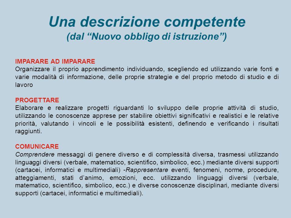 Una descrizione competente (dal Nuovo obbligo di istruzione) IMPARARE AD IMPARARE Organizzare il proprio apprendimento individuando, scegliendo ed uti