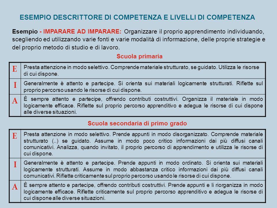 ESEMPIO DESCRITTORE DI COMPETENZA E LIVELLI DI COMPETENZA Esempio - IMPARARE AD IMPARARE: Organizzare il proprio apprendimento individuando, scegliend