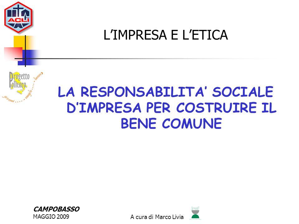 CAMPOBASSO MAGGIO 2009A cura di Marco Livia IL BILANCIO SOCIALE PERCHE UN BILANCIO SOCIALE .