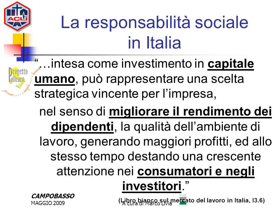 CAMPOBASSO MAGGIO 2009A cura di Marco Livia Essere socialmente responsabili significa andare al di là del rispetto delle norme investendo di più nel capitale umano, nellambiente e nel rapporto con le altre parti interessate.