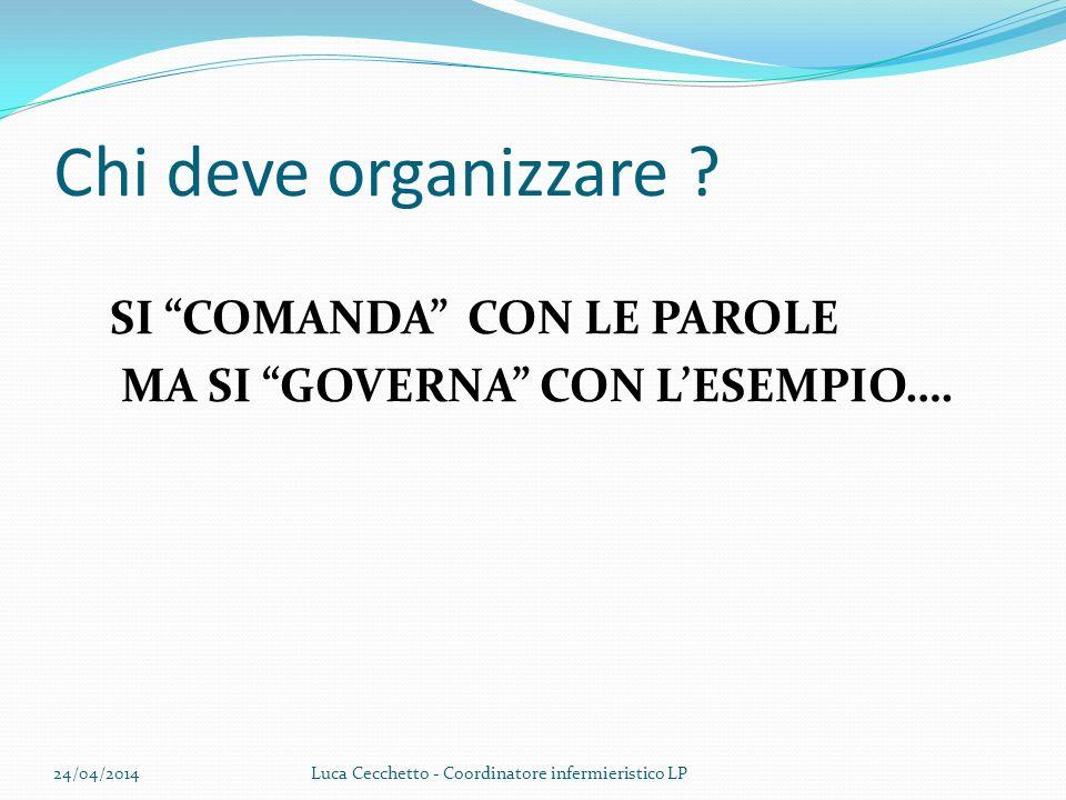 Chi deve organizzare ? SI COMANDA CON LE PAROLE MA SI GOVERNA CON LESEMPIO…. 24/04/2014Luca Cecchetto - Coordinatore infermieristico LP