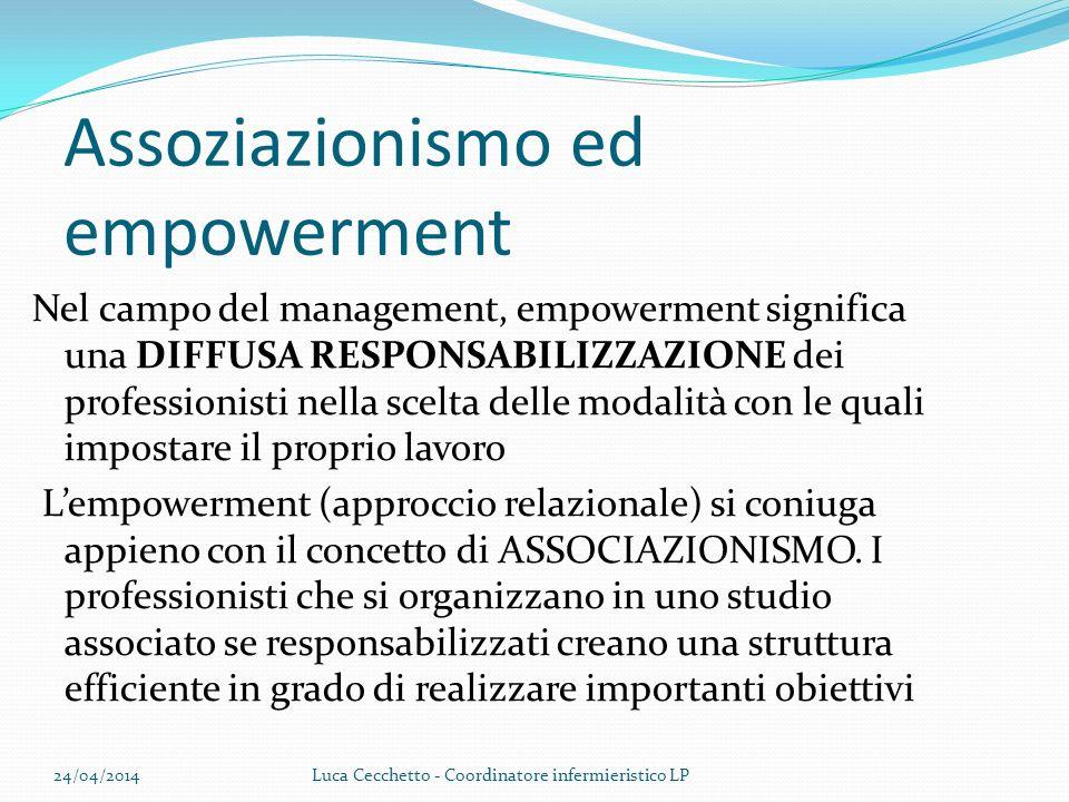 Assoziazionismo ed empowerment Nel campo del management, empowerment significa una DIFFUSA RESPONSABILIZZAZIONE dei professionisti nella scelta delle