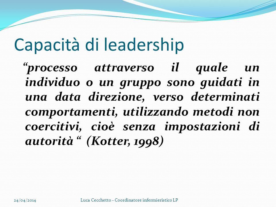 Capacità di leadership processo attraverso il quale un individuo o un gruppo sono guidati in una data direzione, verso determinati comportamenti, util