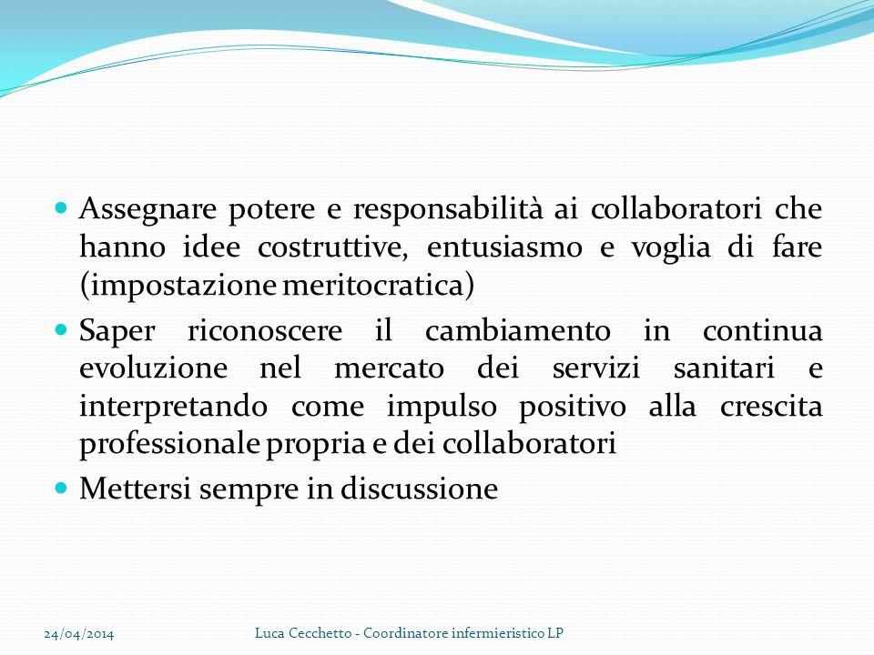 Assegnare potere e responsabilità ai collaboratori che hanno idee costruttive, entusiasmo e voglia di fare (impostazione meritocratica) Saper riconosc