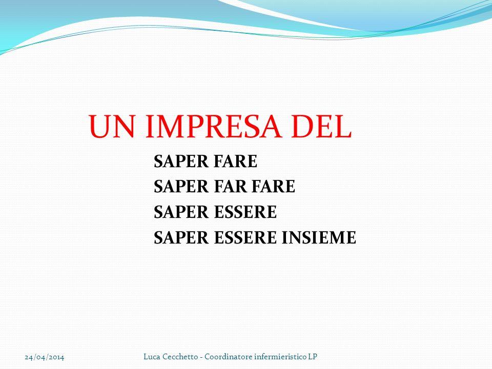 UN IMPRESA DEL SAPER FARE SAPER FAR FARE SAPER ESSERE SAPER ESSERE INSIEME 24/04/2014Luca Cecchetto - Coordinatore infermieristico LP