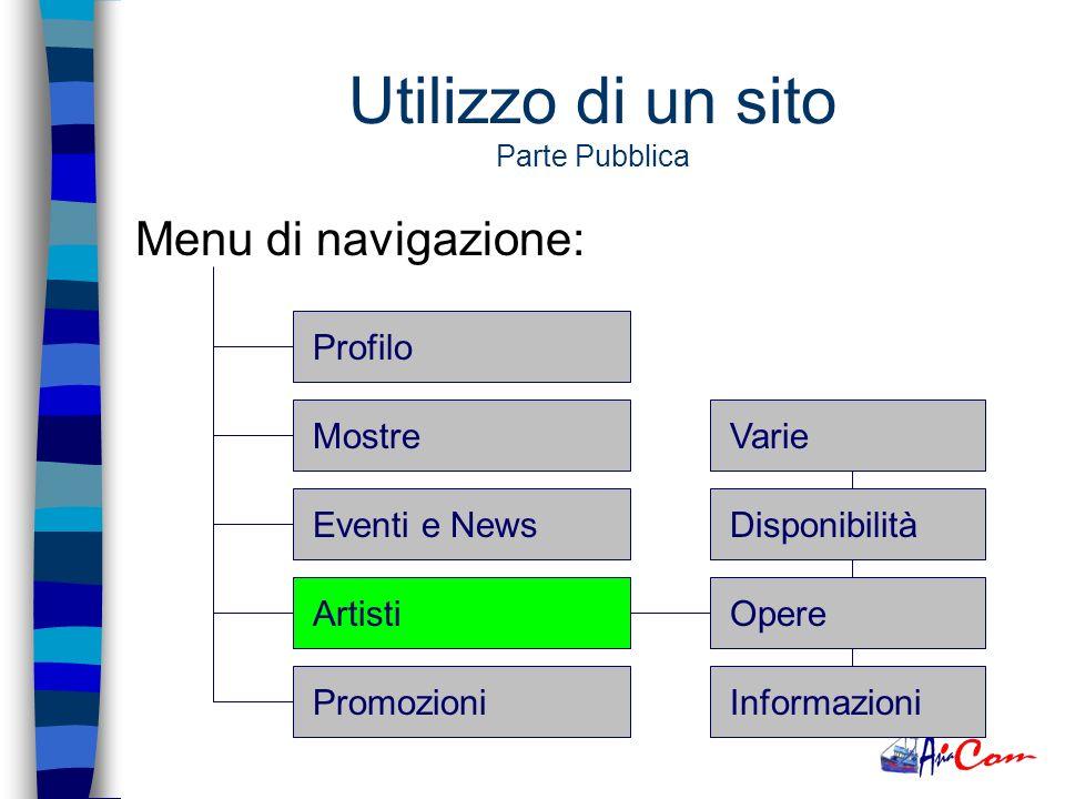 Utilizzo di un sito Parte Pubblica Menu di navigazione: ProfiloMostreEventi e NewsArtistiPromozioniEventi locali Eventi Internazionali NovitàAgenda