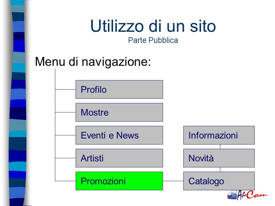 Utilizzo di un sito Parte Pubblica Menu di navigazione: ProfiloMostreEventi e NewsArtistiPromozioniOpere Informazioni DisponibilitàVarie
