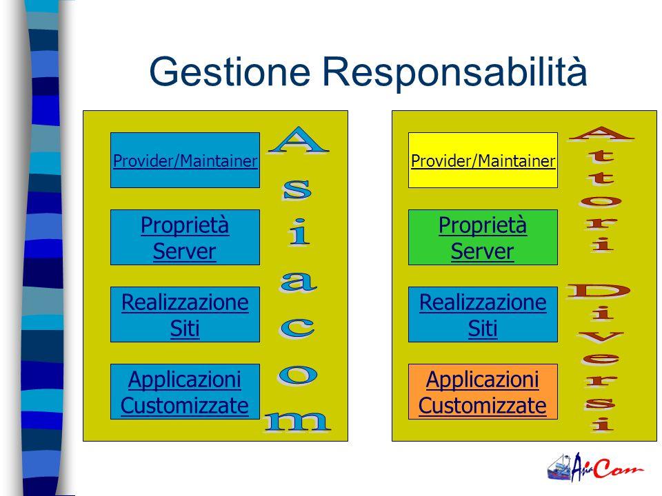 Provider/Maintainer Proprietà Server Realizzazione Siti Applicazioni Customizzate Gestione Responsabilità Provider/Maintainer Proprietà Server Realizzazione Siti Applicazioni Customizzate