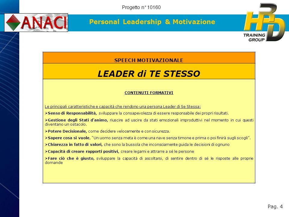 Personal Leadership & Motivazione Pag. 4 SPEECH MOTIVAZIONALE LEADER di TE STESSO CONTENUTI FORMATIVI Le principali caratteristiche e capacità che ren