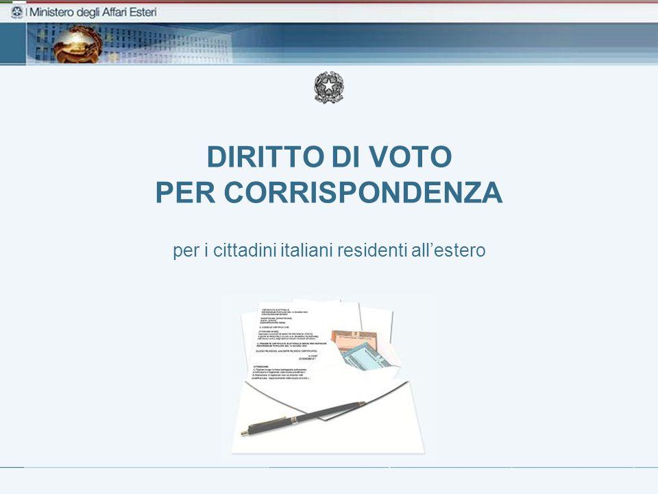 DIRITTO DI VOTO PER CORRISPONDENZA per i cittadini italiani residenti allestero