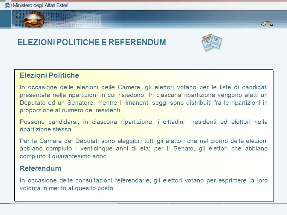ELEZIONI POLITICHE E REFERENDUM Elezioni Politiche In occasione delle elezioni delle Camere, gli elettori votano per le liste di candidati presentate