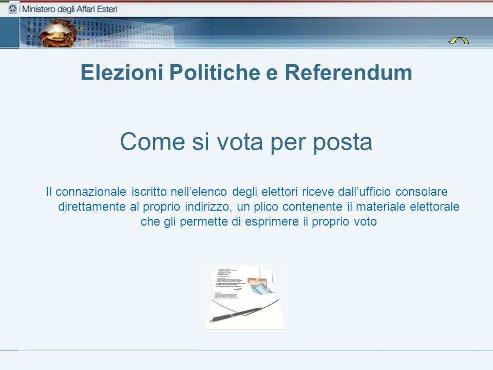 Elezioni Politiche e Referendum Come si vota per posta Il connazionale iscritto nellelenco degli elettori riceve dallufficio consolare direttamente al