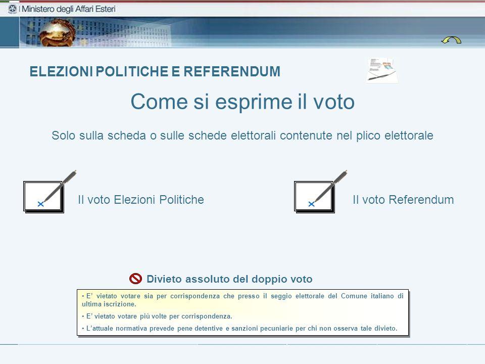 ELEZIONI POLITICHE E REFERENDUM Il voto Elezioni PoliticheIl voto Referendum Come si esprime il voto E vietato votare sia per corrispondenza che press