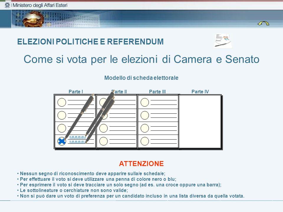 ELEZIONI POLITICHE E REFERENDUM Come si vota per le elezioni di Camera e Senato Modello di scheda elettorale Nessun segno di riconoscimento deve appar