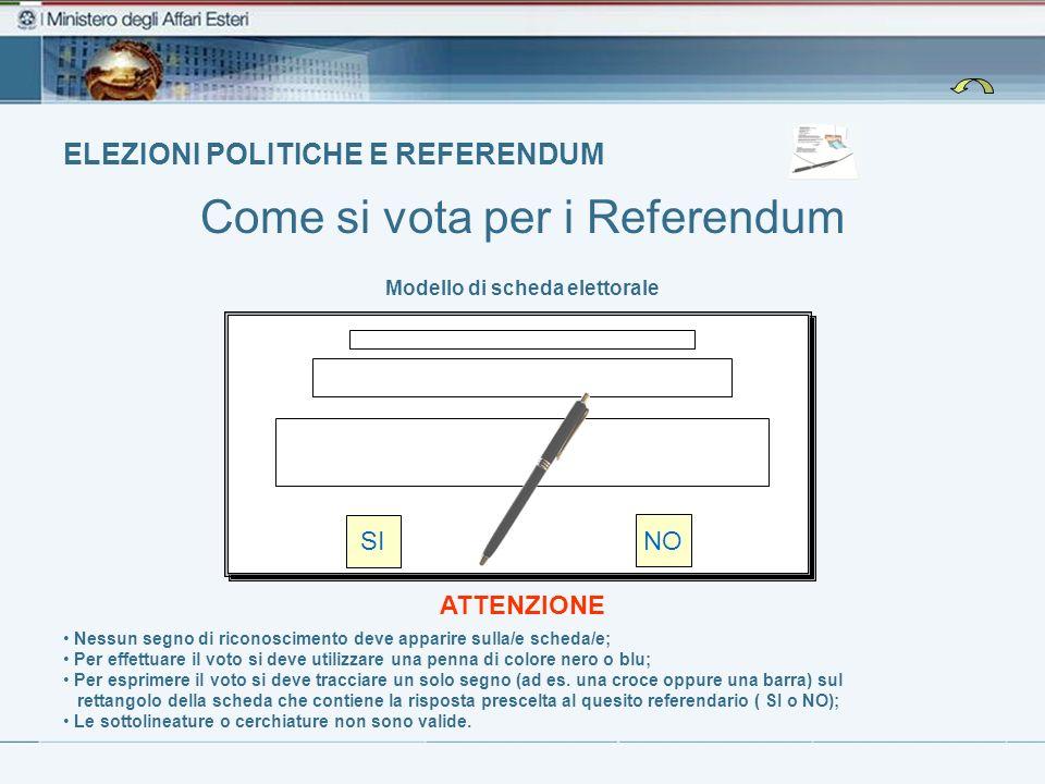 ELEZIONI POLITICHE E REFERENDUM Come si vota per i Referendum Modello di scheda elettorale Nessun segno di riconoscimento deve apparire sulla/e scheda