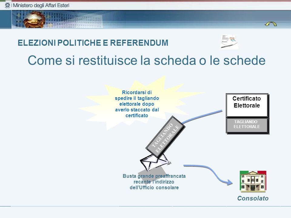 ELEZIONI POLITICHE E REFERENDUM Busta grande preaffrancata recante lindirizzo dellUfficio consolare Consolato Certificato Elettorale Certificato Elett