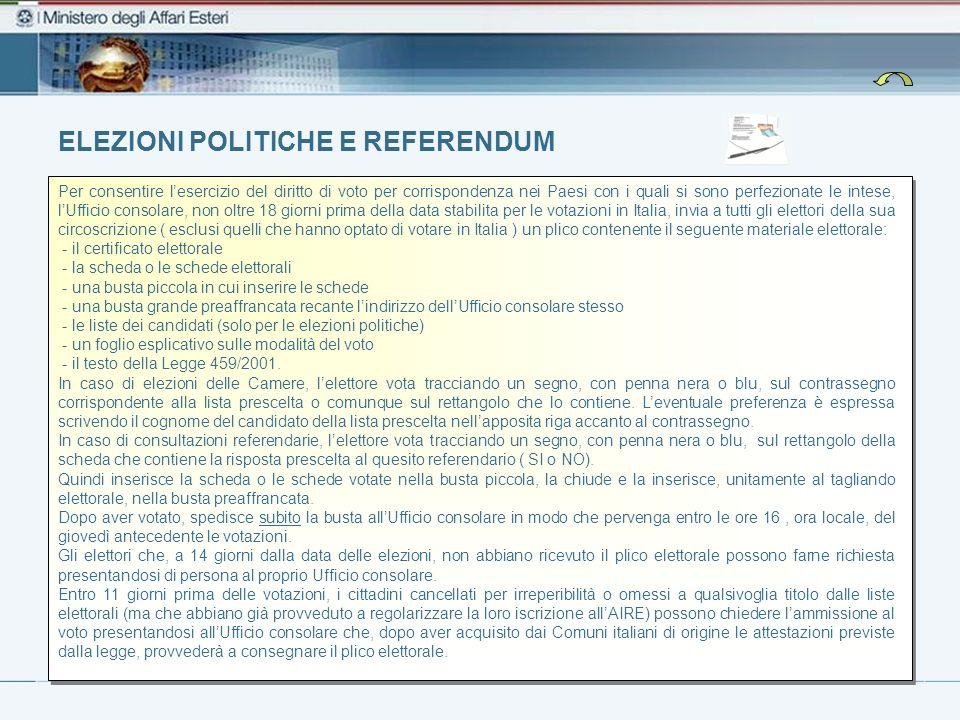 ELEZIONI POLITICHE E REFERENDUM Per consentire lesercizio del diritto di voto per corrispondenza nei Paesi con i quali si sono perfezionate le intese,