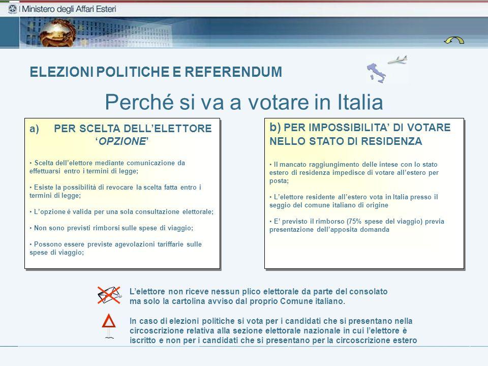 ELEZIONI POLITICHE E REFERENDUM Perché si va a votare in Italia Lelettore non riceve nessun plico elettorale da parte del consolato ma solo la cartoli