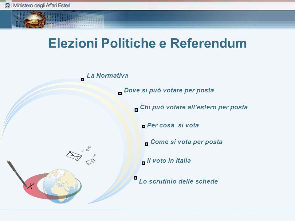 Elezioni Politiche e Referendum La Normativa Dove si può votare per posta Per cosa si vota Lo scrutinio delle schede Chi può votare allestero per post