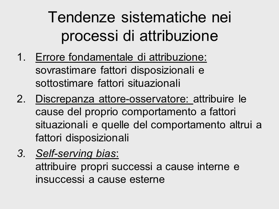 Tendenze sistematiche nei processi di attribuzione 1.Errore fondamentale di attribuzione: sovrastimare fattori disposizionali e sottostimare fattori s