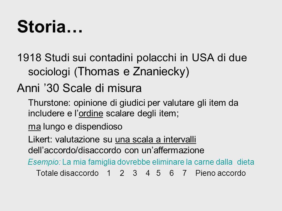 Storia… 1918 Studi sui contadini polacchi in USA di due sociologi ( Thomas e Znaniecky) Anni 30 Scale di misura Thurstone: opinione di giudici per val
