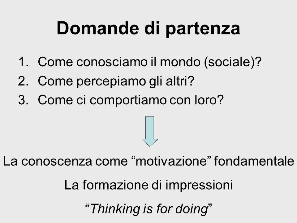 Domande di partenza 1.Come conosciamo il mondo (sociale)? 2.Come percepiamo gli altri? 3.Come ci comportiamo con loro? La conoscenza come motivazione
