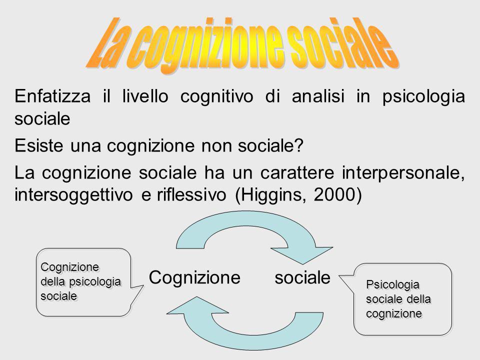 Enfatizza il livello cognitivo di analisi in psicologia sociale Esiste una cognizione non sociale? La cognizione sociale ha un carattere interpersonal