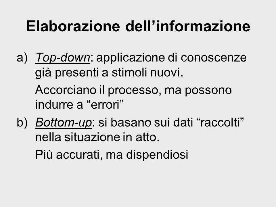 Elaborazione dellinformazione a)Top-down: applicazione di conoscenze già presenti a stimoli nuovi. Accorciano il processo, ma possono indurre a errori