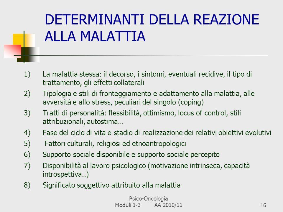 Psico-Oncologia Moduli 1-3 AA 2010/1115 ADATTAMENTO ALLA MALATTIA: 4 FASI FaseProblematiche Psicologiche ShockSenso di catastrofe e frattura nel propr
