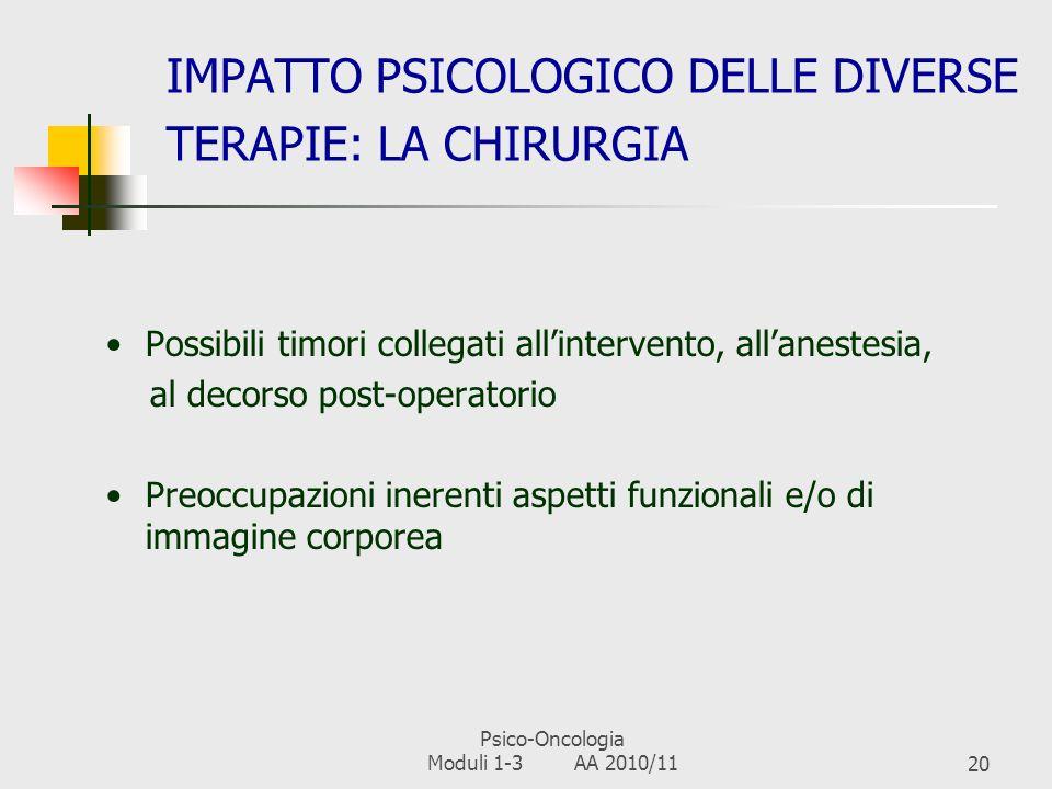 Psico-Oncologia Moduli 1-3 AA 2010/1119 IMPATTO PSICOLOGICO DELLE DIVERSE TERAPIE: LORMONOTERAPIA In genere meglio tollerata della CT Fanno eccezione