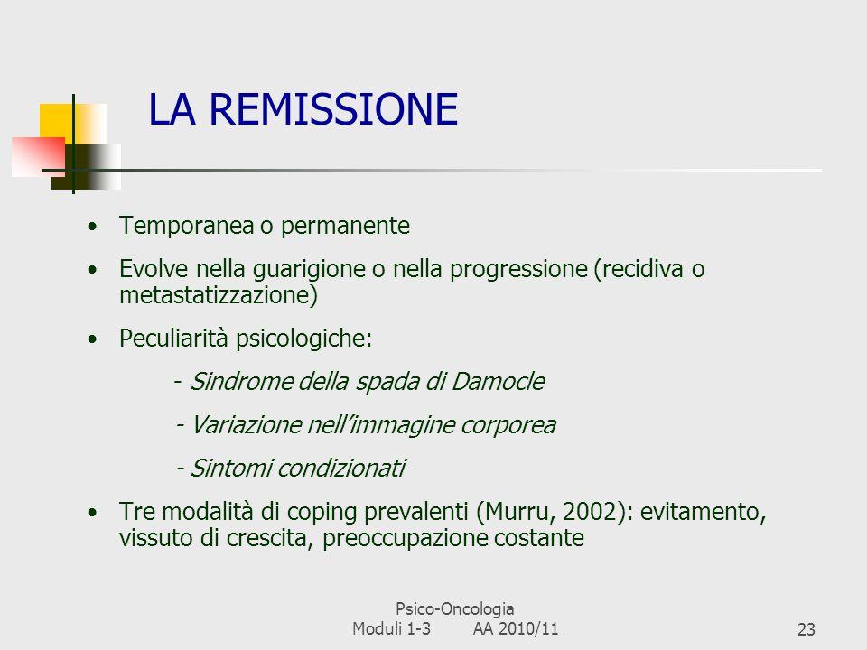 Psico-Oncologia Moduli 1-3 AA 2010/1122 LA FINE DEI TRATTAMENTI Affaticamento e/o malessere per laccumulo degli effetti collaterali dei trattamenti In