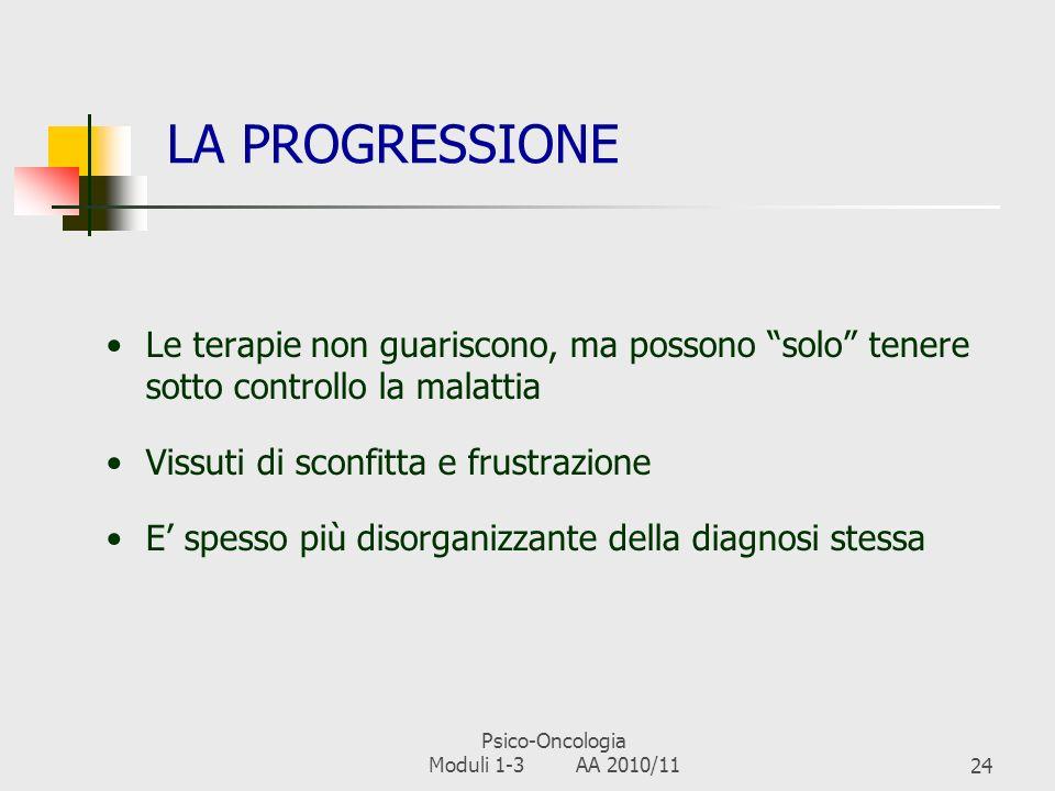 Psico-Oncologia Moduli 1-3 AA 2010/1123 LA REMISSIONE Temporanea o permanente Evolve nella guarigione o nella progressione (recidiva o metastatizzazio