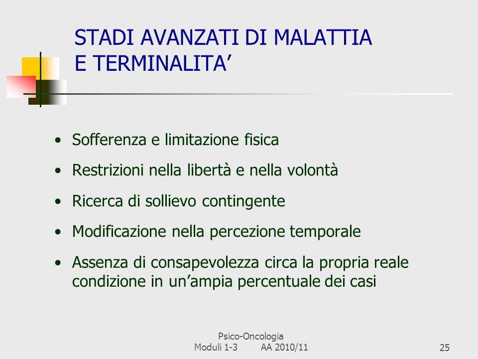 Psico-Oncologia Moduli 1-3 AA 2010/1124 LA PROGRESSIONE Le terapie non guariscono, ma possono solo tenere sotto controllo la malattia Vissuti di sconf