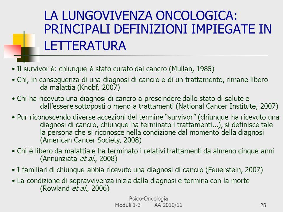 Psico-Oncologia Moduli 1-3 AA 2010/1127 ALCUNI DATI EPIDEMIOLOGICI (AIRTUM, 2007) 1 anno3 anni5 anni1 anno3 anni5 anni Prostata948580Mammella979085 Polmone391612Colon766358 Vescica887772Polmone411915 Colon786458Stomaco533532 I tumori più frequenti in Italia, distinti per sesso, e sopravvivenza relativa (tenendo conto dellattesa di vita) a 1, 3 e 5 anni MaschiFemmine La sopravvivenza relativa a cinque anni si aggira attorno al 53% per la maggior parte delle diagnosi In Italia, si registrano circa 300.000 nuovi casi/anno Nel complesso, si stimano attorno ai due milioni gli italiani con un passato oncologico