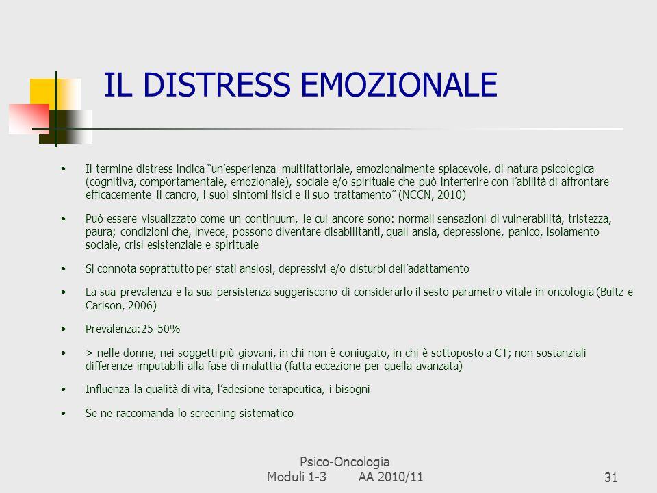 Psico-Oncologia Moduli 1-3 AA 2010/1130 LE PRINCIPALI DIMENSIONI PSICO- SOCIALI DELLA MALATTIA ONCOLOGICA 1)Distress emozionale 2)Compromissioni delli