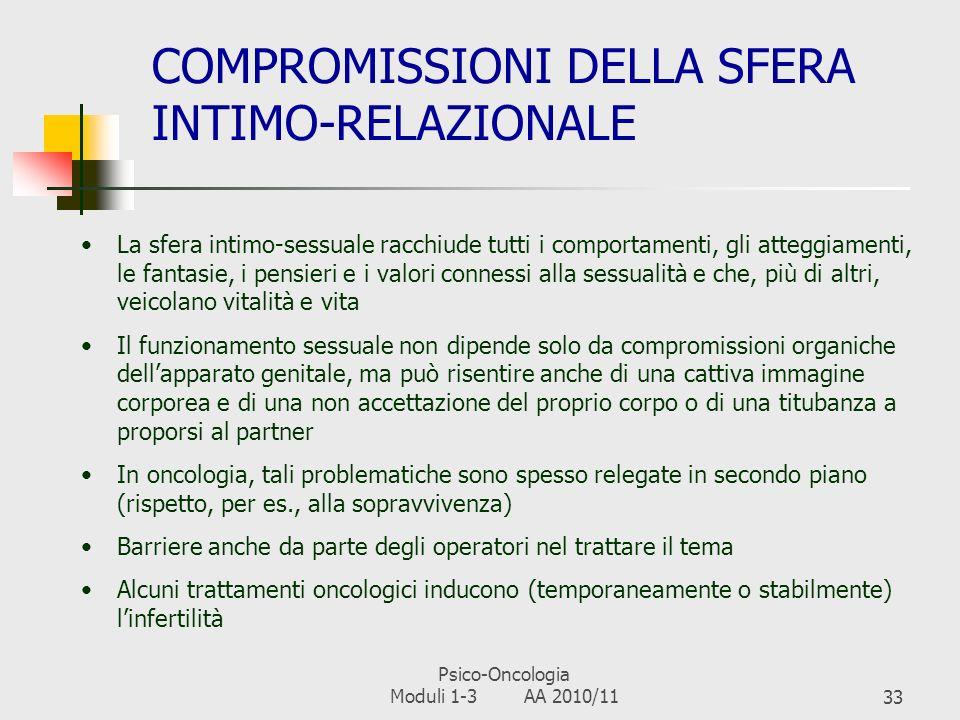 Psico-Oncologia Moduli 1-3 AA 2010/1132 COMPROMISSIONI DELLIMMAGINE CORPOREA Limmagine corporea E una componente del concetto di sé Coinvolge la perce