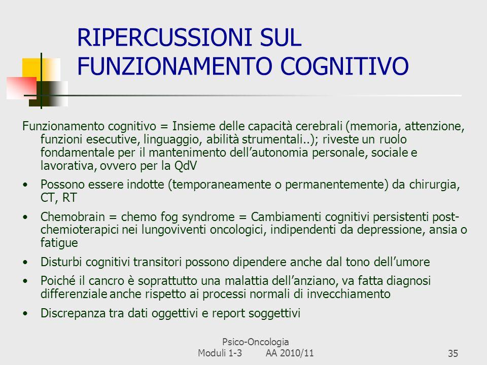 Psico-Oncologia Moduli 1-3 AA 2010/1134 RISVOLTI INTERPERSONALI E SOCIALI Self-perceived burden: è il vissuto di frustrazione, dispiacere e sofferenza