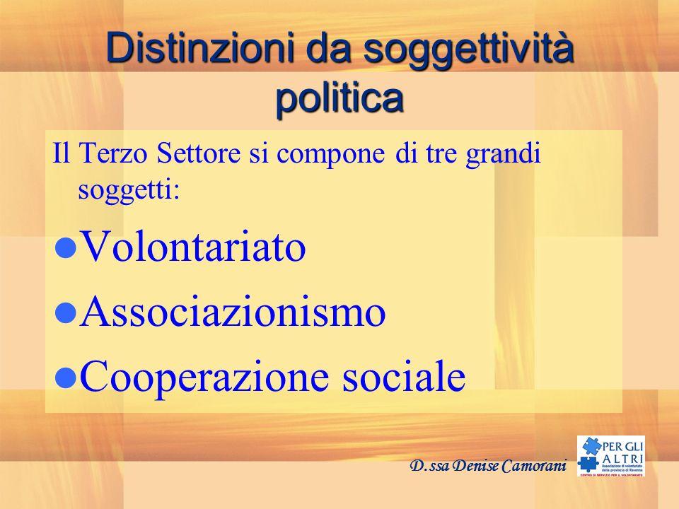 Distinzioni da soggettività politica Il Terzo Settore si compone di tre grandi soggetti: Volontariato Associazionismo Cooperazione sociale D.ssa Denise Camorani