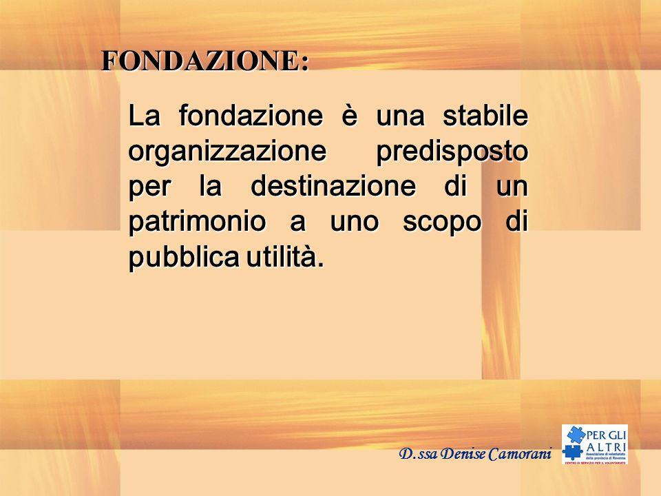 FONDAZIONE: La fondazione è una stabile organizzazione predisposto per la destinazione di un patrimonio a uno scopo di pubblica utilità.