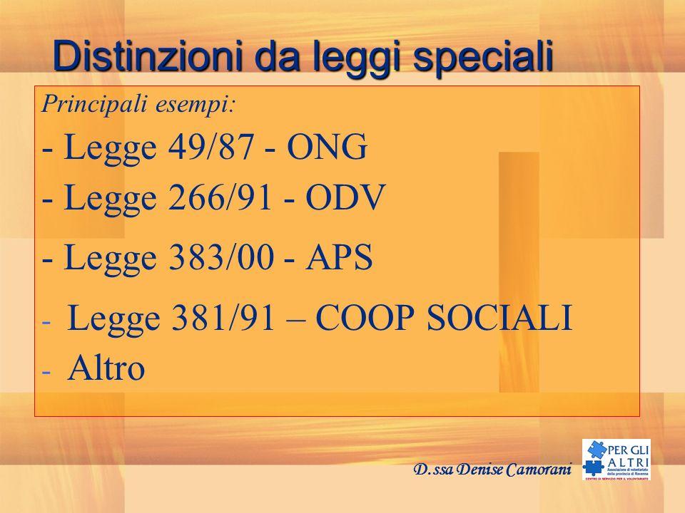 Distinzioni da leggi speciali Principali esempi: - Legge 49/87 - ONG - Legge 266/91 - ODV - Legge 383/00 - APS - Legge 381/91 – COOP SOCIALI - Altro D.ssa Denise Camorani