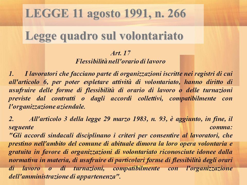 LEGGE 11 agosto 1991, n. 266 Legge quadro sul volontariato Art. 17 Flessibilità nell'orario di lavoro 1. I lavoratori che facciano parte di organizzaz