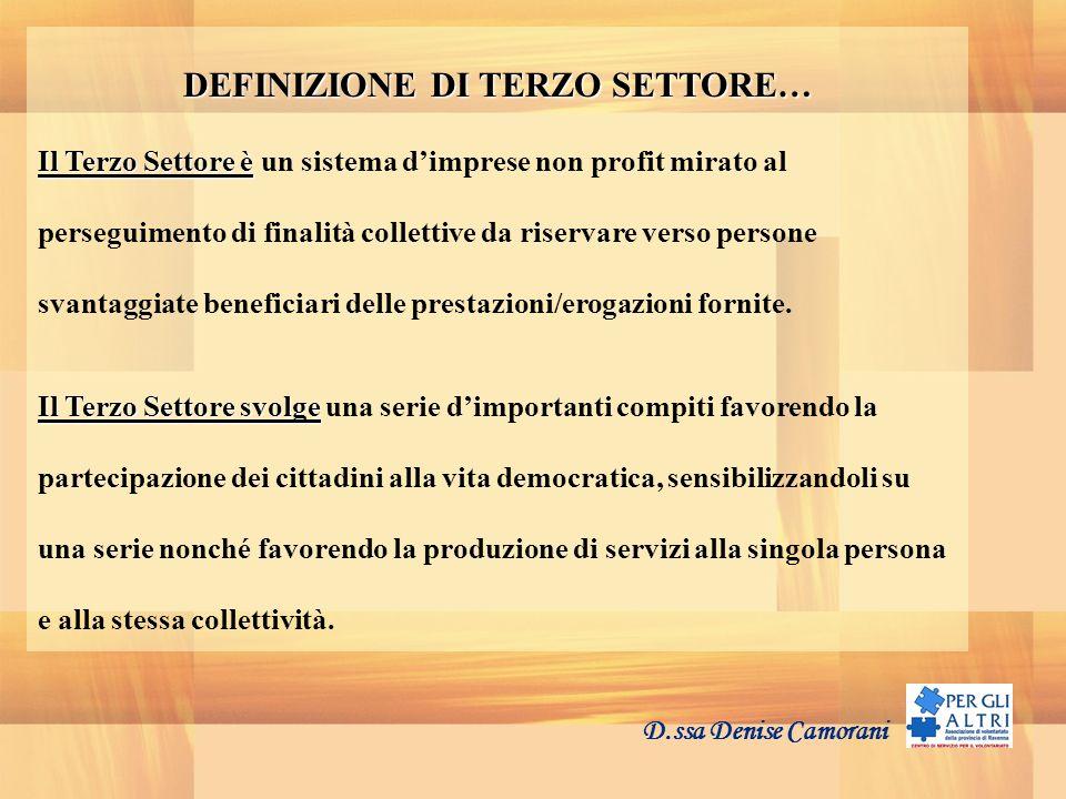 DEFINIZIONE DI TERZO SETTORE… Il Terzo Settore è Il Terzo Settore è un sistema dimprese non profit mirato al perseguimento di finalità collettive da r