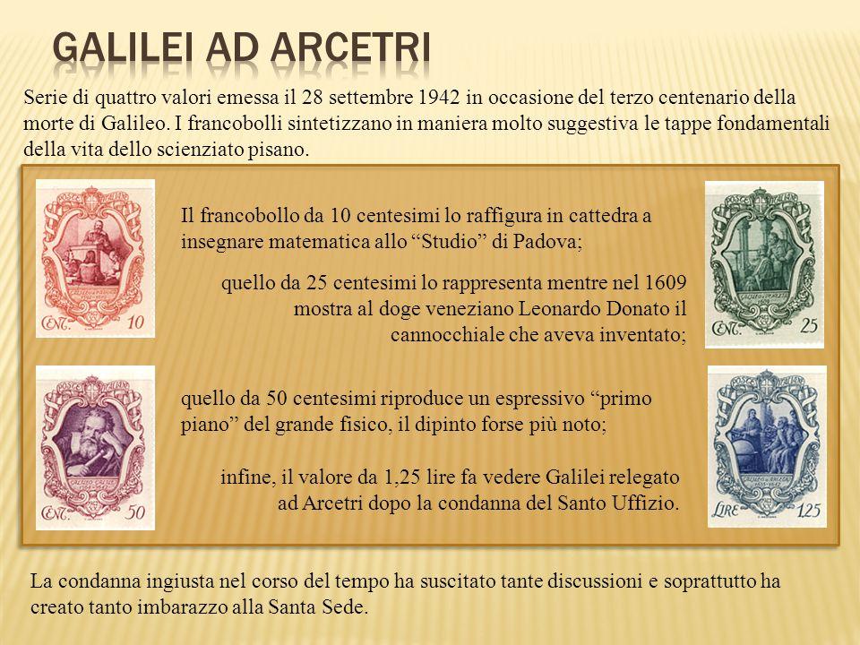 infine, il valore da 1,25 lire fa vedere Galilei relegato ad Arcetri dopo la condanna del Santo Uffizio. Serie di quattro valori emessa il 28 settembr