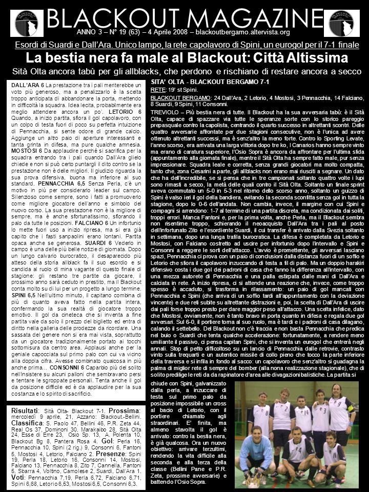 BLACKOUT MAGAZINE ANNO 3 – N° 19 (63) – 4 Aprile 2008 – blackoutbergamo.altervista.org Esordi di Suardi e DallAra.