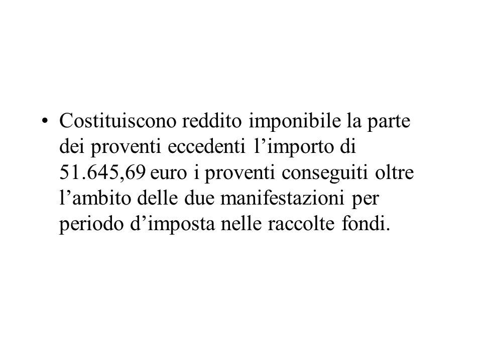 Costituiscono reddito imponibile la parte dei proventi eccedenti limporto di 51.645,69 euro i proventi conseguiti oltre lambito delle due manifestazio