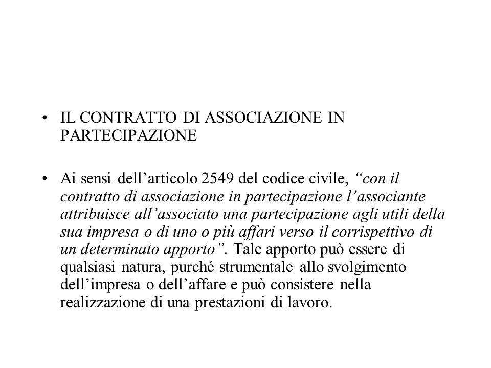 IL CONTRATTO DI ASSOCIAZIONE IN PARTECIPAZIONE Ai sensi dellarticolo 2549 del codice civile, con il contratto di associazione in partecipazione lassoc