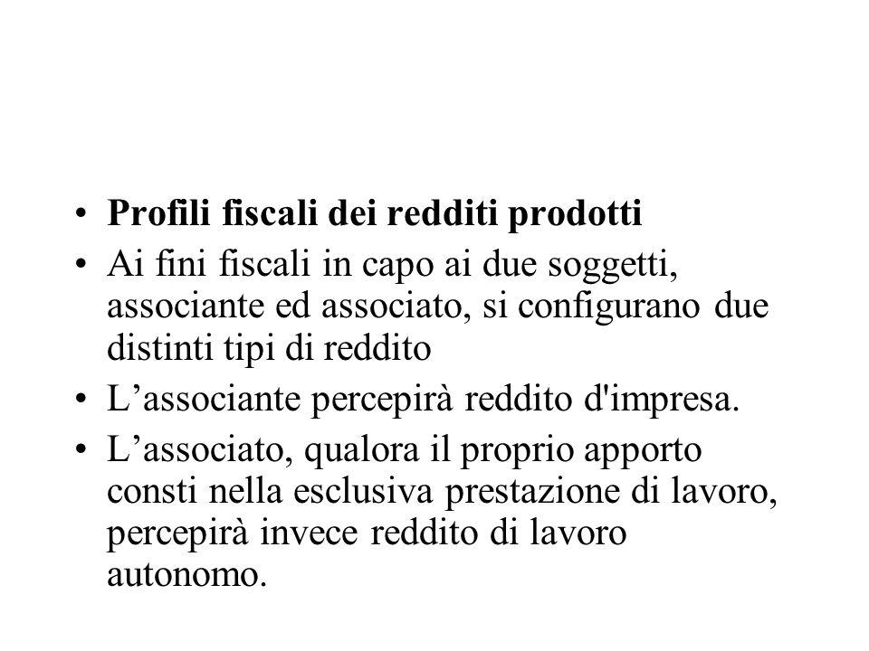 Profili fiscali dei redditi prodotti Ai fini fiscali in capo ai due soggetti, associante ed associato, si configurano due distinti tipi di reddito Las