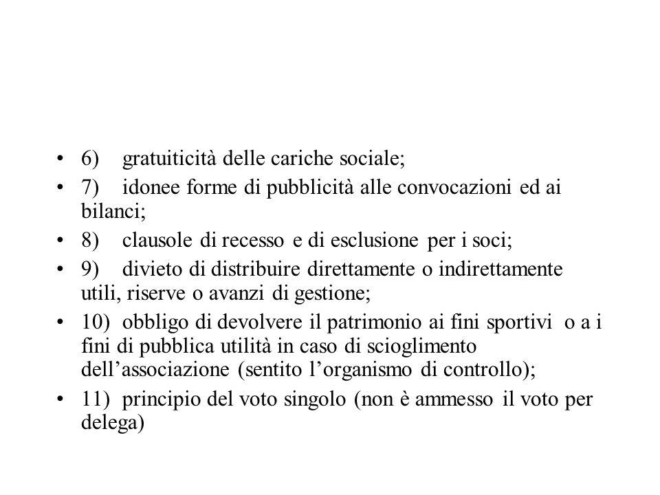 6)gratuiticità delle cariche sociale; 7)idonee forme di pubblicità alle convocazioni ed ai bilanci; 8)clausole di recesso e di esclusione per i soci;